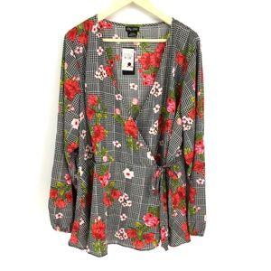 City Chic Sloane Plaid Floral Print Wrap Tunic Top
